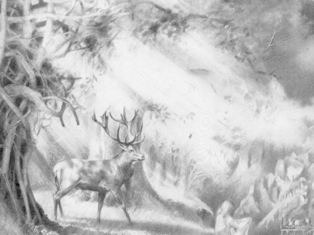 Deer appears between the trees in drawing Woman During the Emerging of Spring