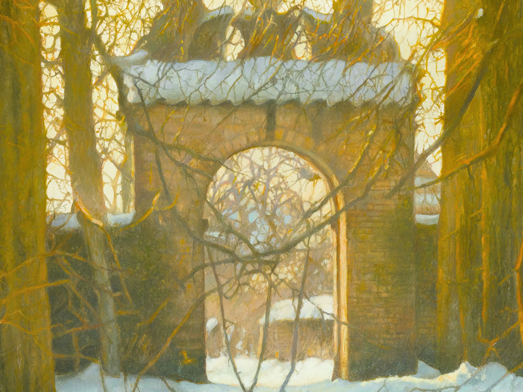 Poortje van Cornjum in de sneeuw, 9 x vergroot, The Gate of Cornjum in the snow, 9 times enlarged