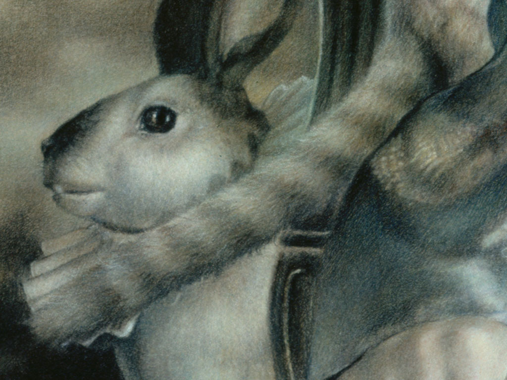 Paul Christiaan Bos: dat woeste universum komt hier terug in de vorm van een licht verontrustende haas - eentje met een kraag en intelligente ogen. That wild universe returns here in the form of this somewhat troubling hare -  one with a collar and intelligent eyes.