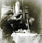 PCBos working in his studio, beginning of the eighties of the previous century