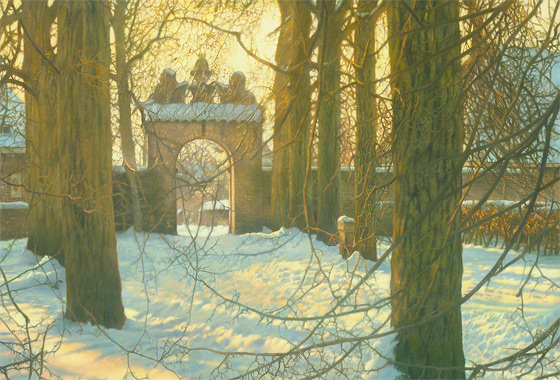Paul Christiaan Bos, miniature: The Small Gate of Cornjum On a Wintry Afternoon, or how one small gate - with - a - history can change and give meaning to everything.