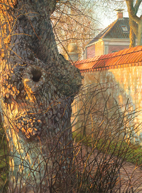 Paul Christiaan Bos, acrylics: The Old Brick Wall of Jelsum, a whole, indescribable world is to be found in the cramped space of one single path alongside of a lichen-covered wall. From the magic triangle Cornjum-Jelsum-Berlikum.