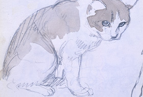 Paul Christiaan Bos, aquarel: studie Kat