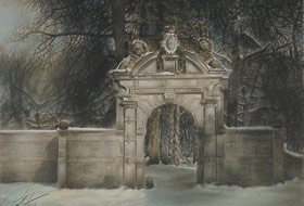 Paul Christiaan Bos, drawing: Cornjum's Small Gate by Night, imagine what it must mean to be a child and then walk through this gate at night, right into a strange, almost forbidden world.