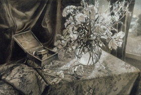 Paul Christiaan Bos, drawing: Stillife, flowers, study for a commission.