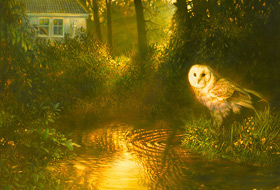 Paul Christiaan Bos, painting: The Hidden House, featuring one of the first Owls I ever painted