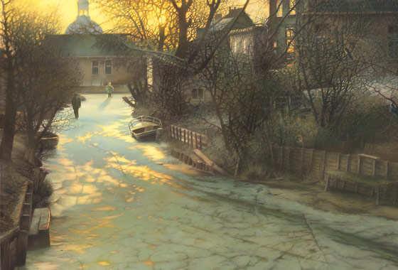 Paul Christiaan Bos, painting  Winter In Friesland, skating in winter, also as giclee