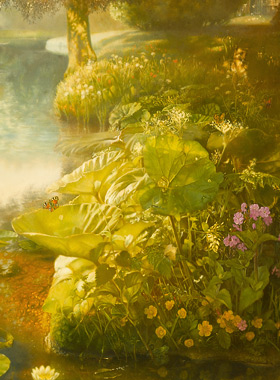 Paul Christiaan Bos: The Foot of the Rainbow. Sun lodges in the paint. Sun shines through to the bottom of the small, transparent lake, with frogs, many birds, butterflies and other insects.