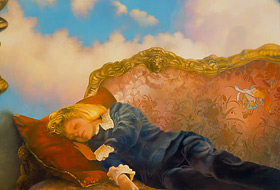 Paul Christiaan Bos: The Sleeping Boy, on couch in front of rolling clouds