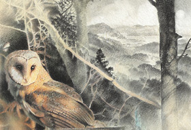 Paul Christiaan Bos: Owlery II: Coppernickle, barnowl hiding in branches in landscape
